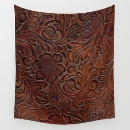Burnished Rich Brown Tooled Leather Wall Tapestry