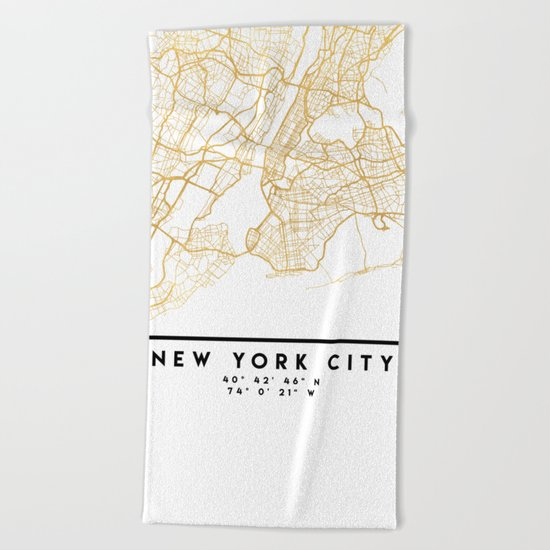 NEW YORK CITY NEW YORK CITY STREET MAP ART Beach Towel
