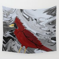 cardinal Wall Tapestries featuring Crystal Cardinal by Distortion Art