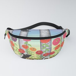 striped skunks, zinnias, birches, & crows Fanny Pack
