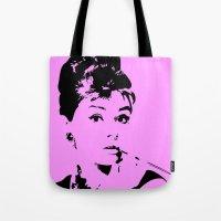 audrey hepburn Tote Bags featuring Audrey Hepburn by Walter Eckland