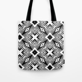 Black and White - Woodcut Etching Cross Geometric Tote Bag