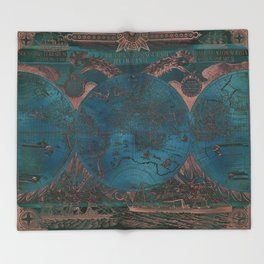 Rose gold and teal antique world map with sail ships Throw Blanket