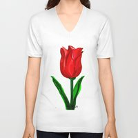 tulip V-neck T-shirts featuring Tulip by sladja