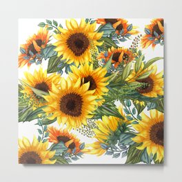 Sunflowers Art, Yellow and Green, Prints of Flowers Metal Print