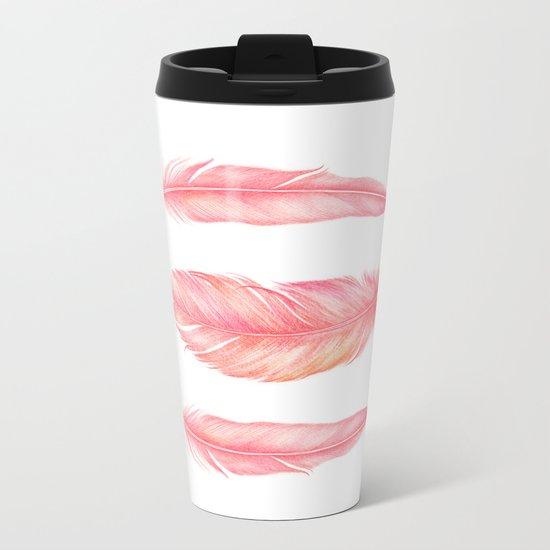 Flamingo Feathers | Watercolour Print Metal Travel Mug