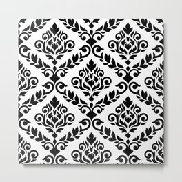 Prima Damask Pattern Black on White Metal Print