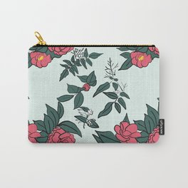 Camellia & Jasmine on pale blue Carry-All Pouch