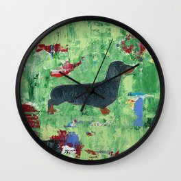 Dachshund Weiner Dog Painting Wall Clock