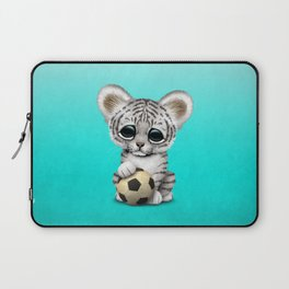 White Tiger Cub With Football Soccer Ball Laptop Sleeve