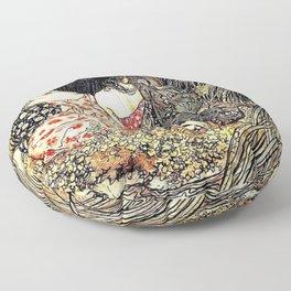 The Flowery Naiades By Arthur Rackham Floor Pillow