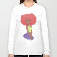 afro Long Sleeve T-shirts featuring Afro girl by Joan Pons
