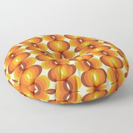 Orange, Brown, and Ivory Retro 1960s Wavy Pattern Floor Pillow