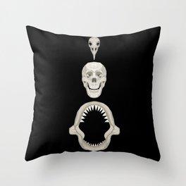 Skulls - Bird, Human, Shark Throw Pillow