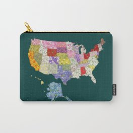 United States in Flowers Carry-All Pouch