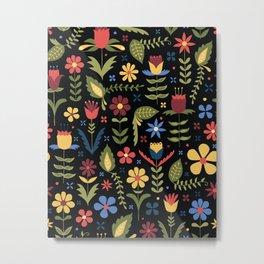 folky floral pattern on black Metal Print