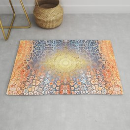 Earth Chakra - Abstract Nature Marble Boho Gold Glitter Pattern Rug