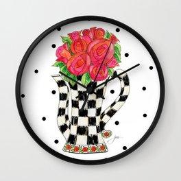 Teapot Roses Wall Clock