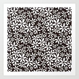 Monochrome paper cut flowers pattern Art Print