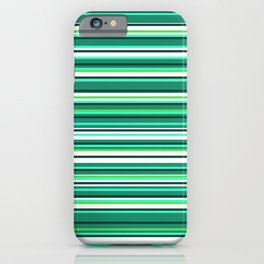 Shades of Mint Green | Colorful Horizontal Stripes | iPhone Case