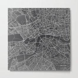 London Map, England - Gray Metal Print