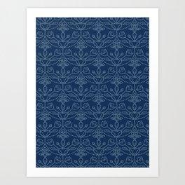 Damask motif sashiko stitch pattern. Art Print