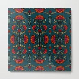 Spanish Blooms - Turquoise Metal Print