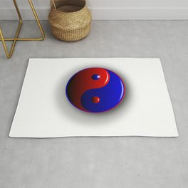 Red And Blue Yin and Yang Rug