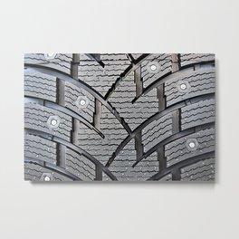 Background pattern winter stud tire Metal Print