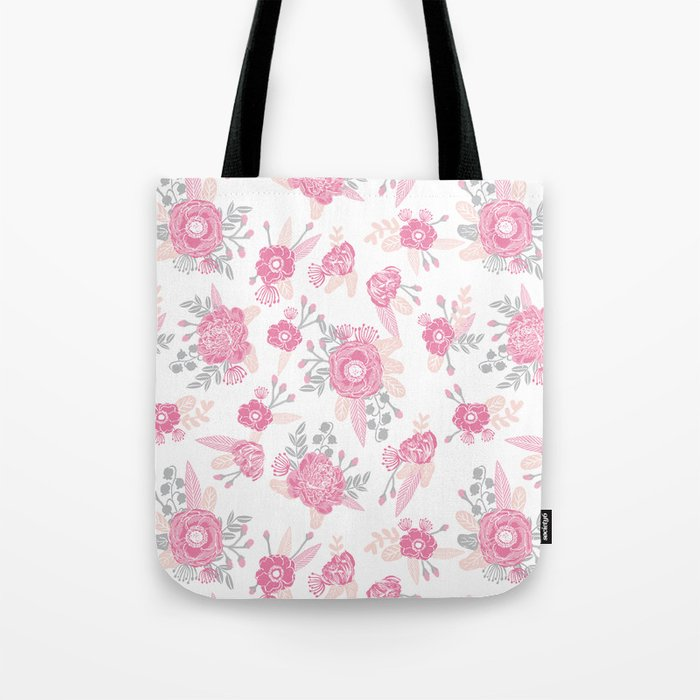 Pink pastel florals cute nursery baby girl decor floral botanical bouquet blooms Tote Bag