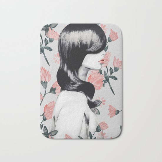 WOMAN WITH FLOWERS 9 Bath Mat