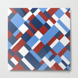 Map 45 Red White and Blue Metal Print