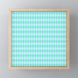 Turquoise Blue Argyle Pattern Framed Mini Art Print