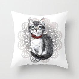 Elizabeth Bennet, the Grey Tabby Kitten Throw Pillow
