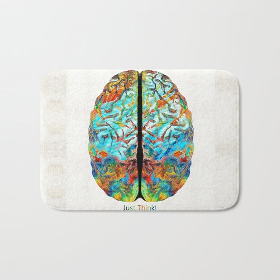 Colorful Brain Art - Just Think - By Sharon Cummings Bath Mat