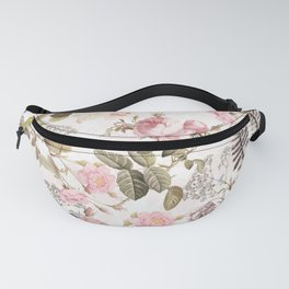 Vintage & Shabby Chic - Blush Roses and Fern Leaf Fanny Pack