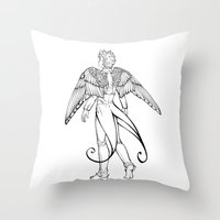 swallow Throw Pillows featuring swallow by noCek