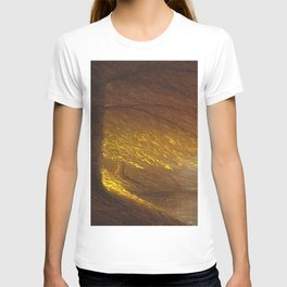 Sunburst through the Autumn Trees by the River landscape by H. Joiner T-shirt