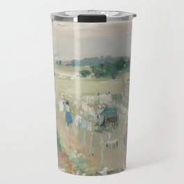 Hanging the Laundry out to Dry by Berthe Morisot Travel Mug