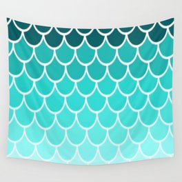 Ombre Fish Scale Pattern Wall Tapestry