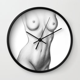 Sexy Woman Torso | Breasts | Nude Art | Naked | Female Beauty | Feminine Wall Clock