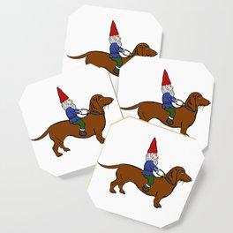 Gnome Riding a Dachshund Coaster
