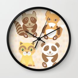Funny cute raccoon, panda, fox, cat on dot background. Wall Clock