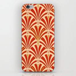 Art Deco Fan Pattern, Mandarin Orange iPhone Skin