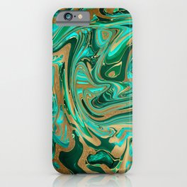 Green & Gold Liquid Marble iPhone Case