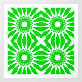 Green & White Pinwheel Flowers Art Print