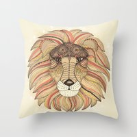 leo Throw Pillows featuring Leo by Vibeke Koehler