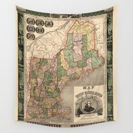 Map of New England 1847 Wall Tapestry