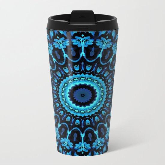 Dark Blue Floral Mandala Metal Travel Mug