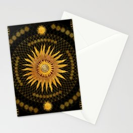 """Black & Gold Vault Mandala"" Stationery Cards"